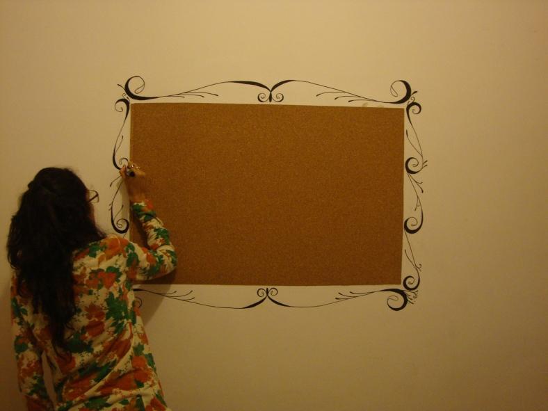 na parede, desenho